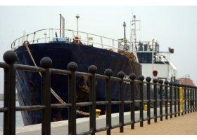Ustka-uziemniony w porcie statek Tanais (awaria). Fot. SAS