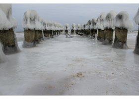 Plaża w Ustce pokryta lodem, fot.Karolina Surowiec